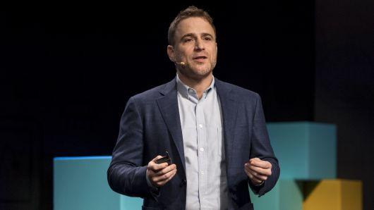 Stewart Butterfield, co-founder and chief executive officer of Slack Technologies Inc., speaks during an event in San Francisco, California.
