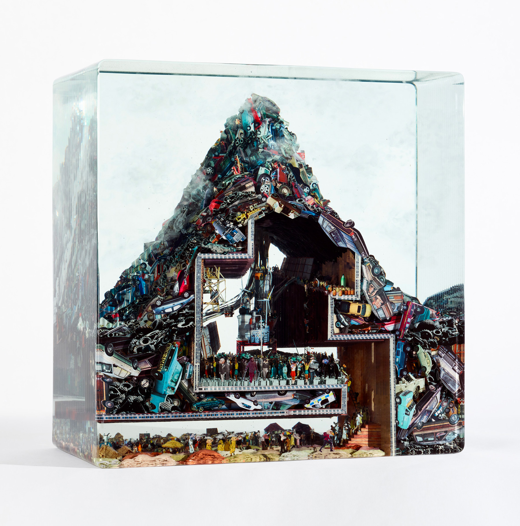 """Building a Time Machine in Car Mountain"" (2017), Glass, collage, acrylic, resin, 15.875"" x 15.875"" x 7.75"""