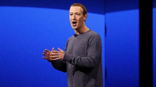 Facebook CEO Mark Zuckerberg makes his keynote speech during Facebook Inc