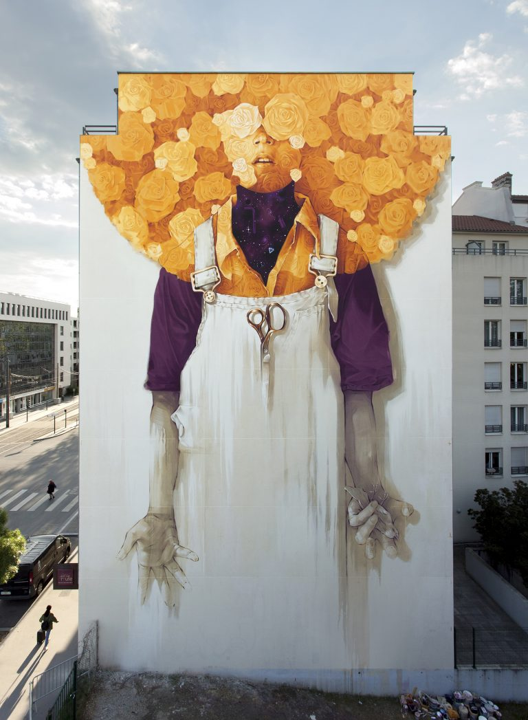 Radiant Flowers Overlook Lyon, France in New Mural by INTI