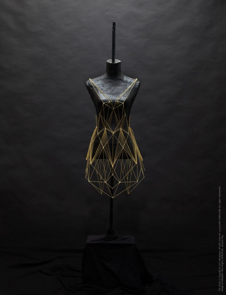 Geometric Dresses and Headpieces Created Entirely From Strands of Spaghetti