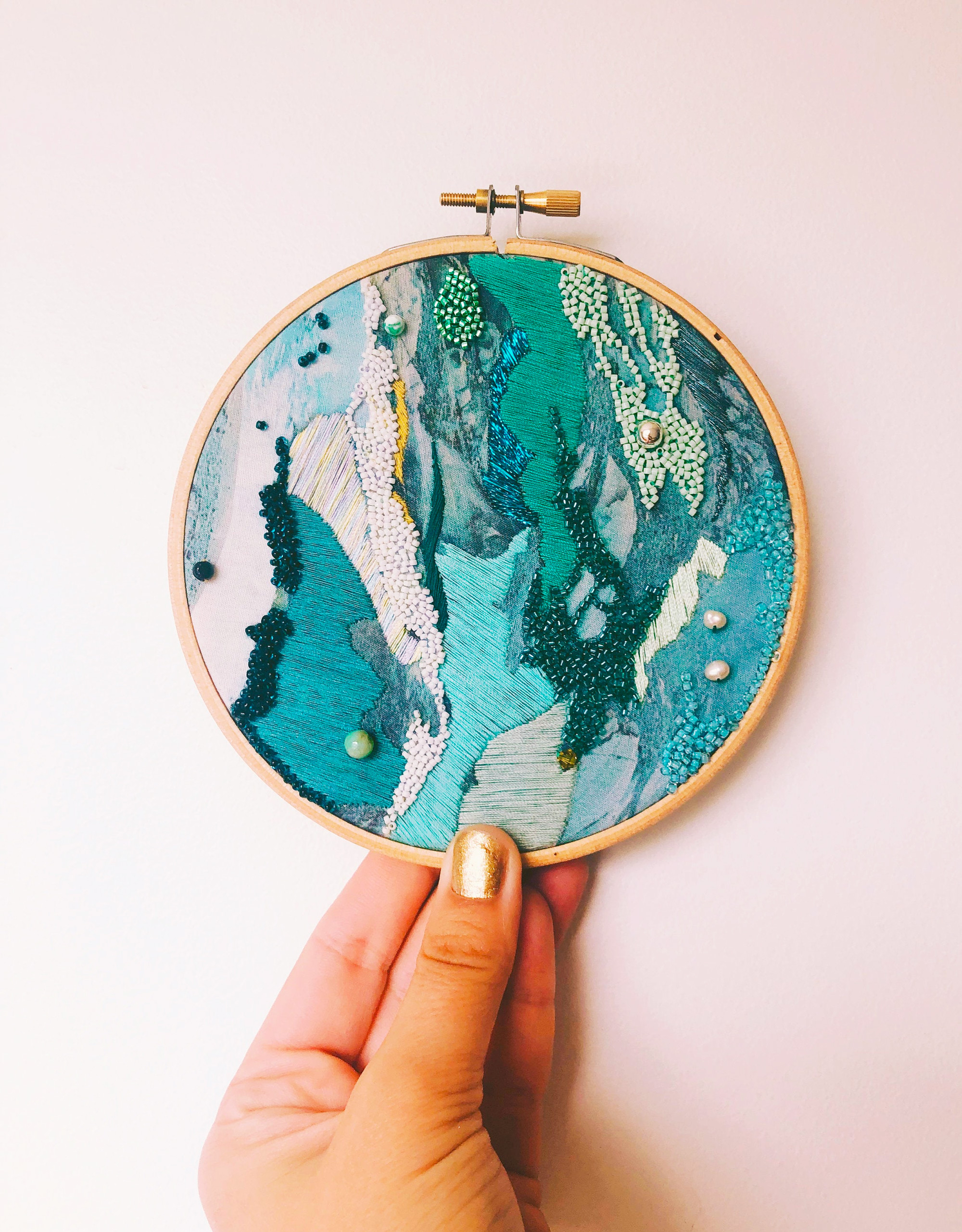 Macro Views of British Beaches Become Abstract Textural Embroideries by Emily Botelho