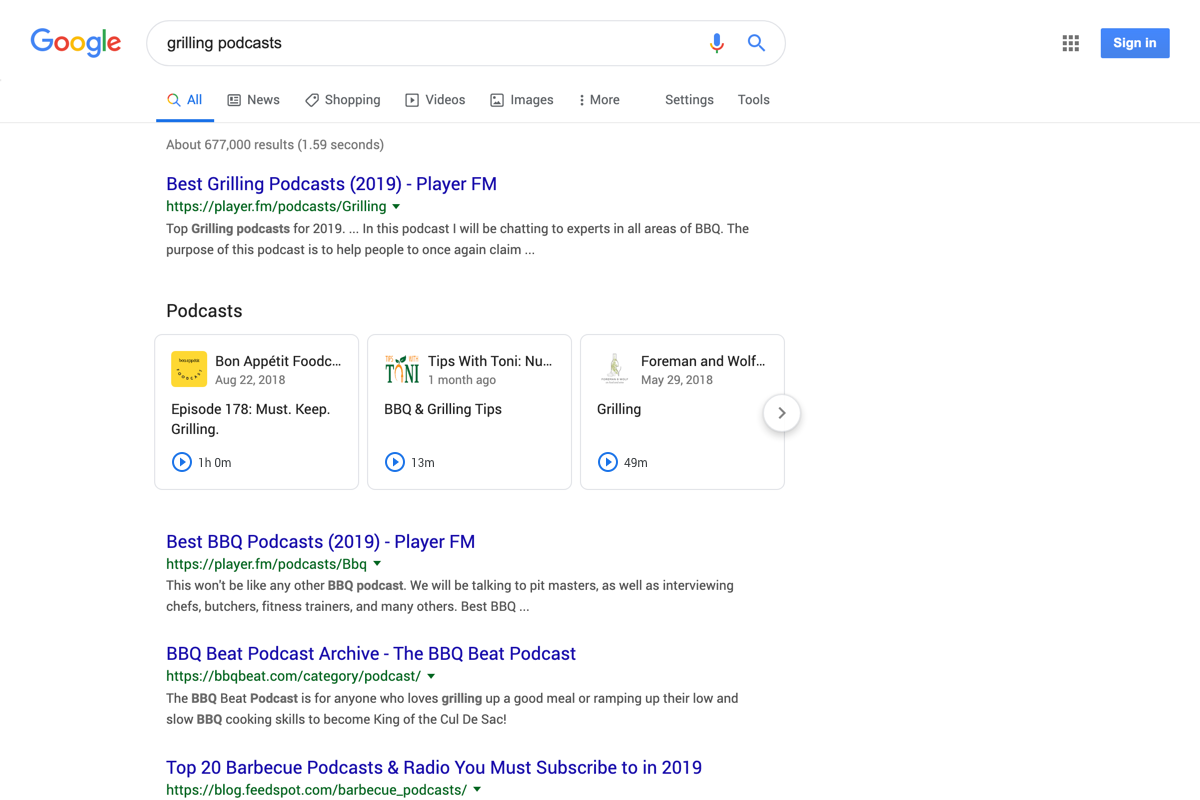 Google adds podcasts to search, alongside video, web links and photos
