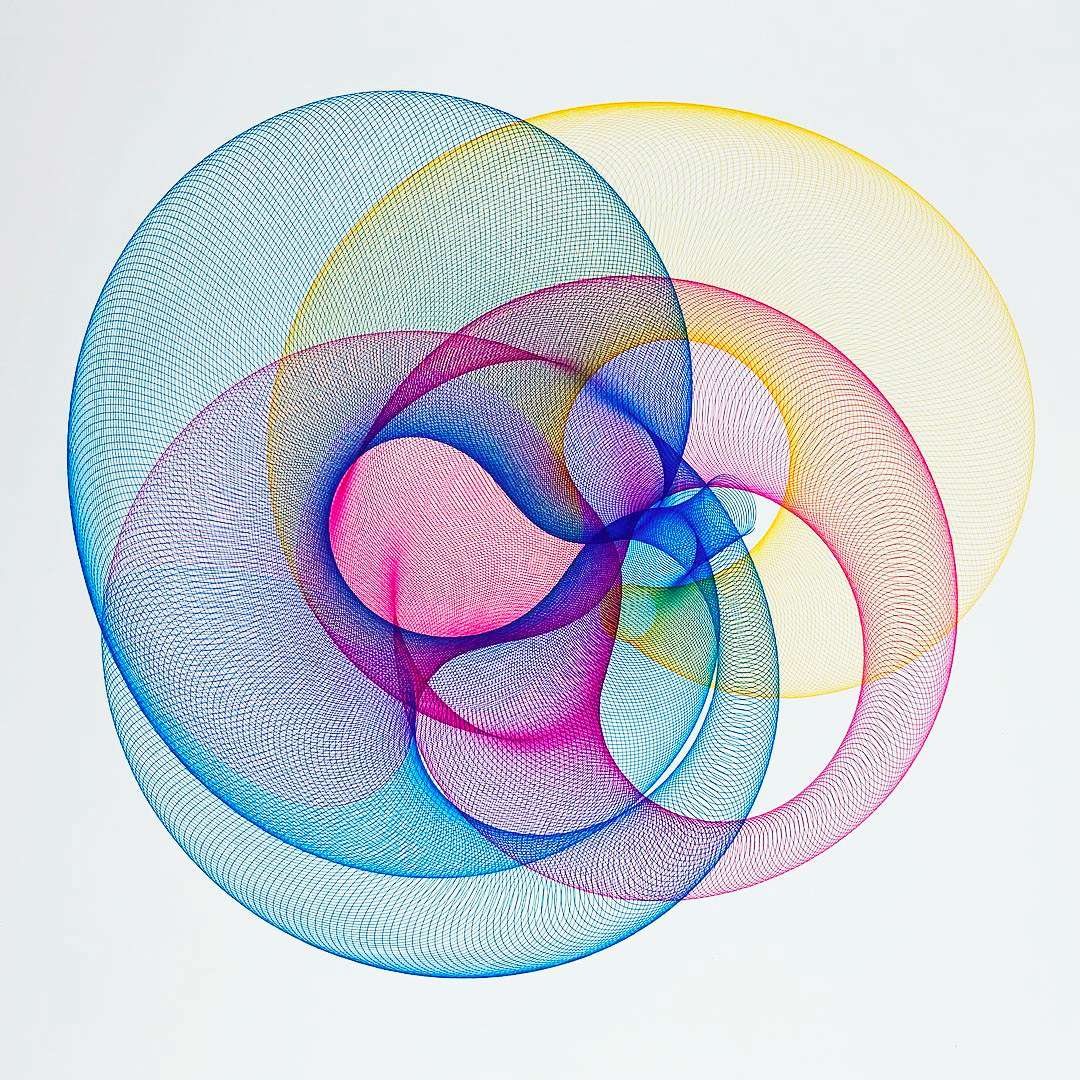Metal and Wood Drawing Machines by James Nolan Gandy Form Mesmerizing Multi-Color Ellipses