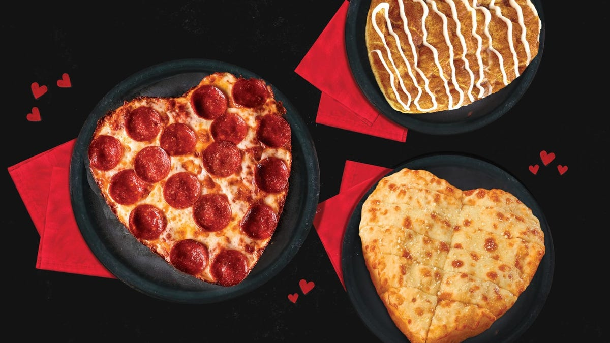 Pizza Hut, Papa John's have heart pizza for Valentine's Day while Dunkin', Krispy Kreme have heart donuts