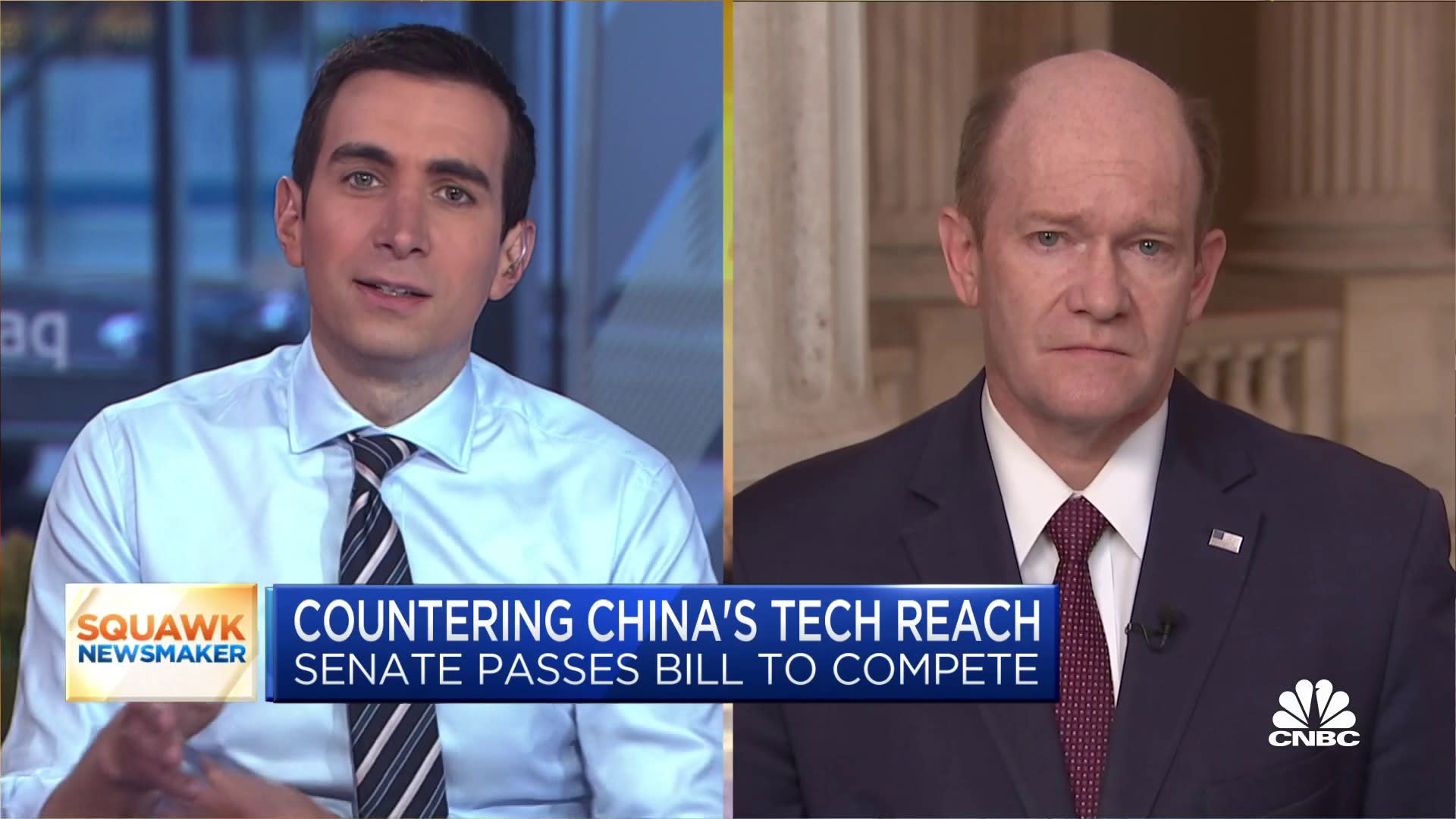 Apple and other U.S. companies remain under pressure to answer for China's 'repression,' says Sen. Chris Coons