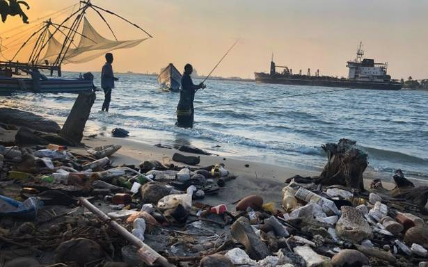 Photo exhibition showcasing plastic pollution on in France