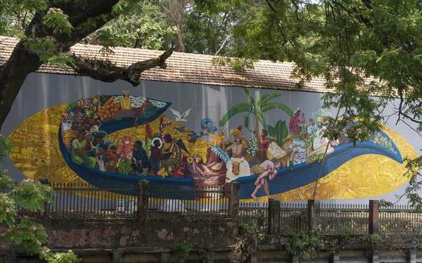 A mural shows a slice of Kerala