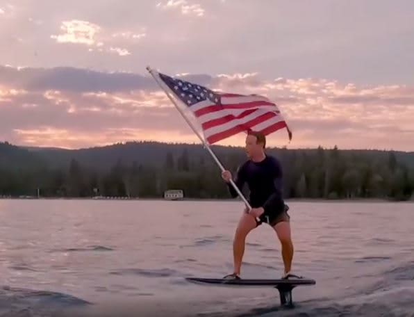 'Take me home' — Mark Zuckerberg posts flag-waving, surfboard-riding Independence Day Instagram video